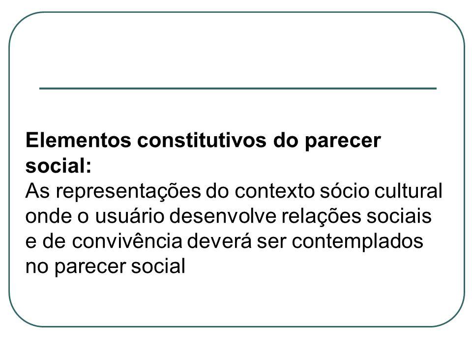 Elementos constitutivos do parecer social: