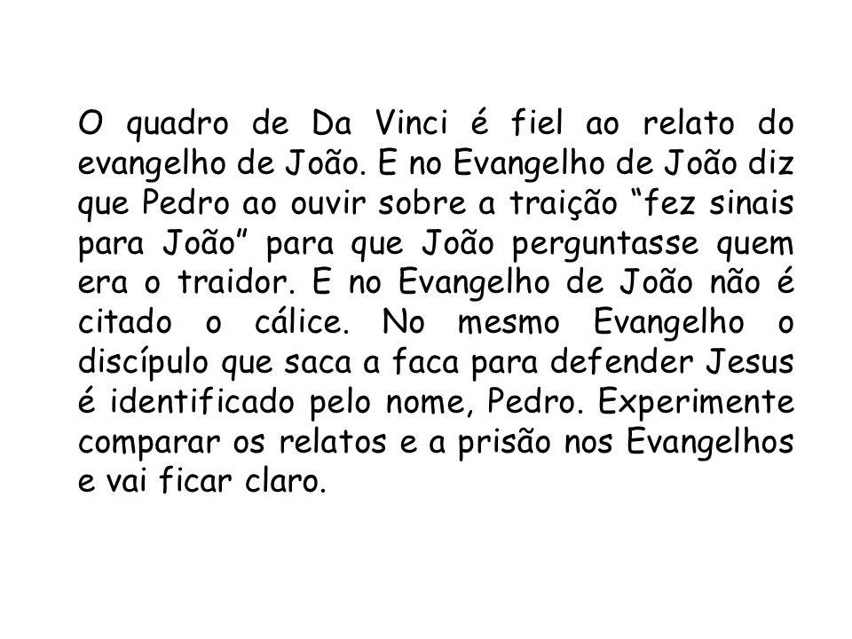 O quadro de Da Vinci é fiel ao relato do evangelho de João