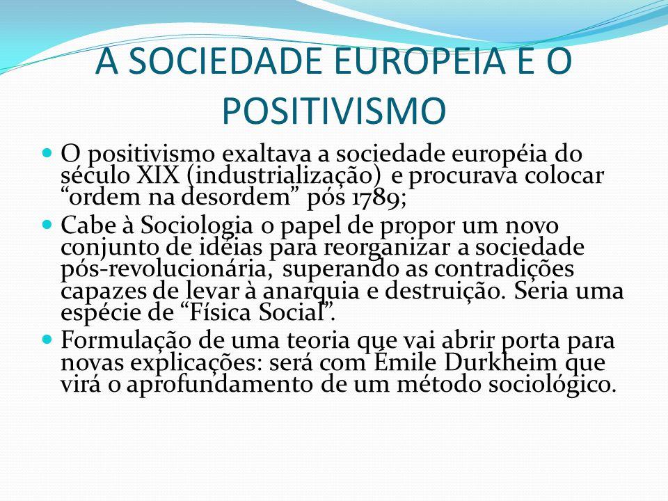 A SOCIEDADE EUROPEIA E O POSITIVISMO