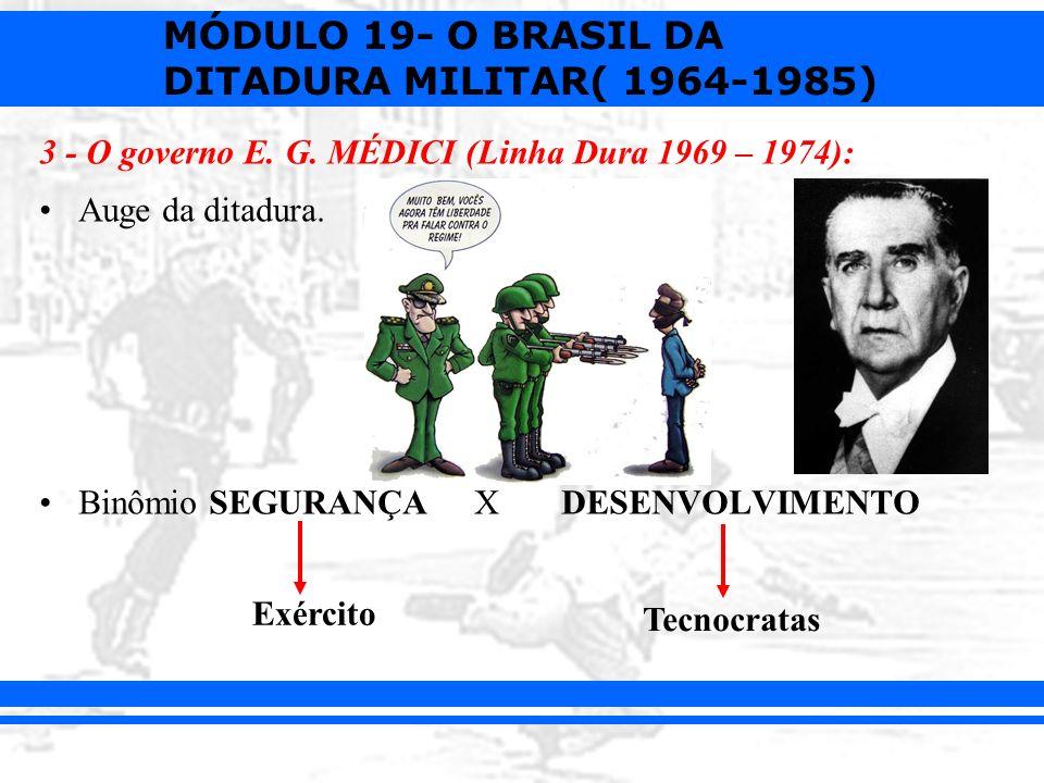 3 - O governo E. G. MÉDICI (Linha Dura 1969 – 1974):