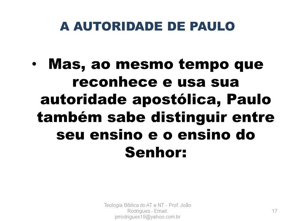 A AUTORIDADE DE PAULO