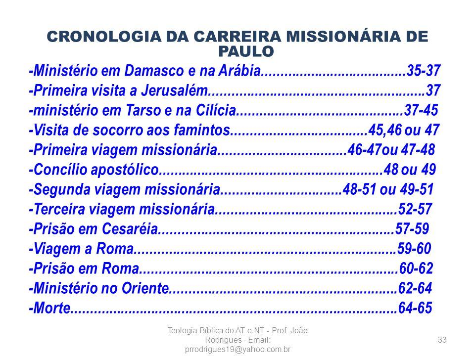 CRONOLOGIA DA CARREIRA MISSIONÁRIA DE PAULO