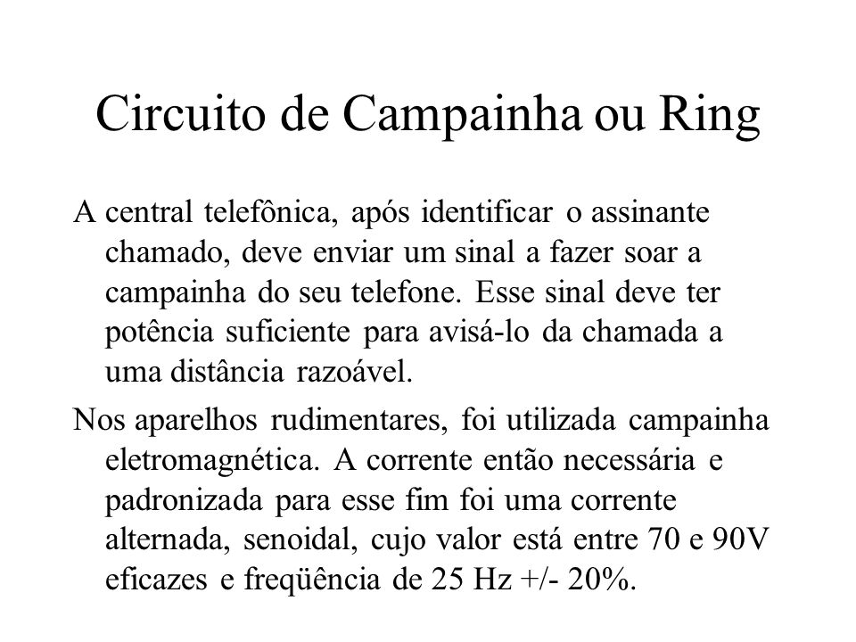Circuito de Campainha ou Ring