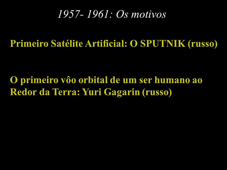 1957- 1961: Os motivos Primeiro Satélite Artificial: O SPUTNIK (russo)