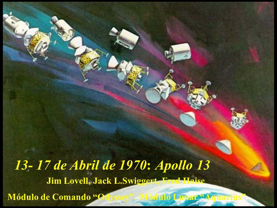 13- 17 de Abril de 1970:Apollo 13.Jim Lovell, Jack L.Swiggert, Fred Haise.