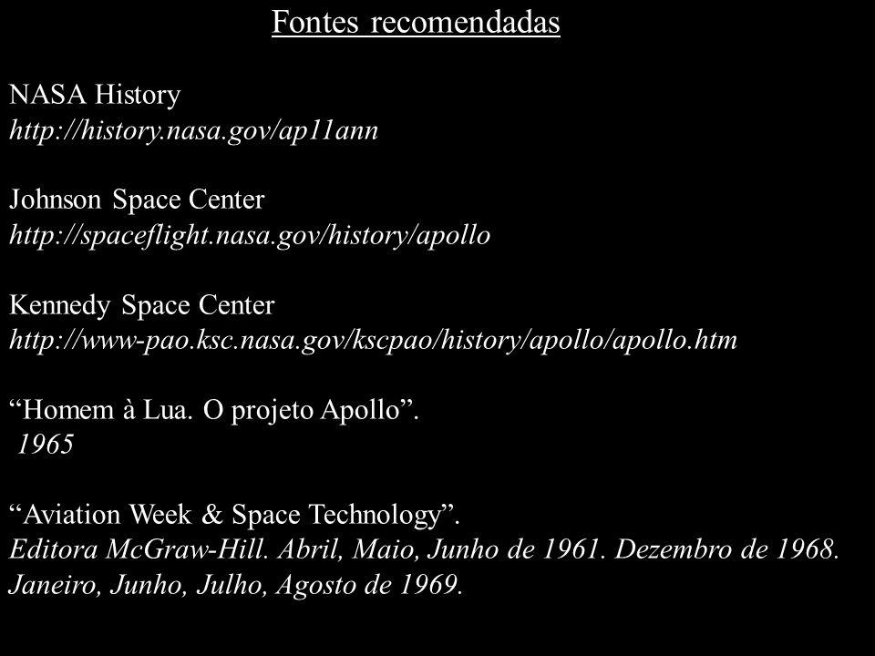 Fontes recomendadasNASA History. http://history.nasa.gov/ap11ann. Johnson Space Center. http://spaceflight.nasa.gov/history/apollo.