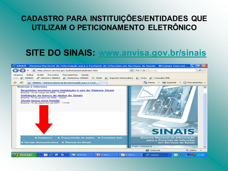 SITE DO SINAIS: www.anvisa.gov.br/sinais