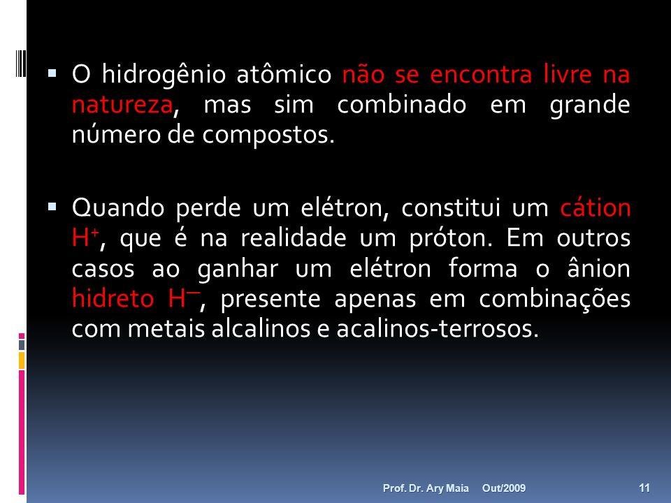 O hidrogênio atômico não se encontra livre na natureza, mas sim combinado em grande número de compostos.