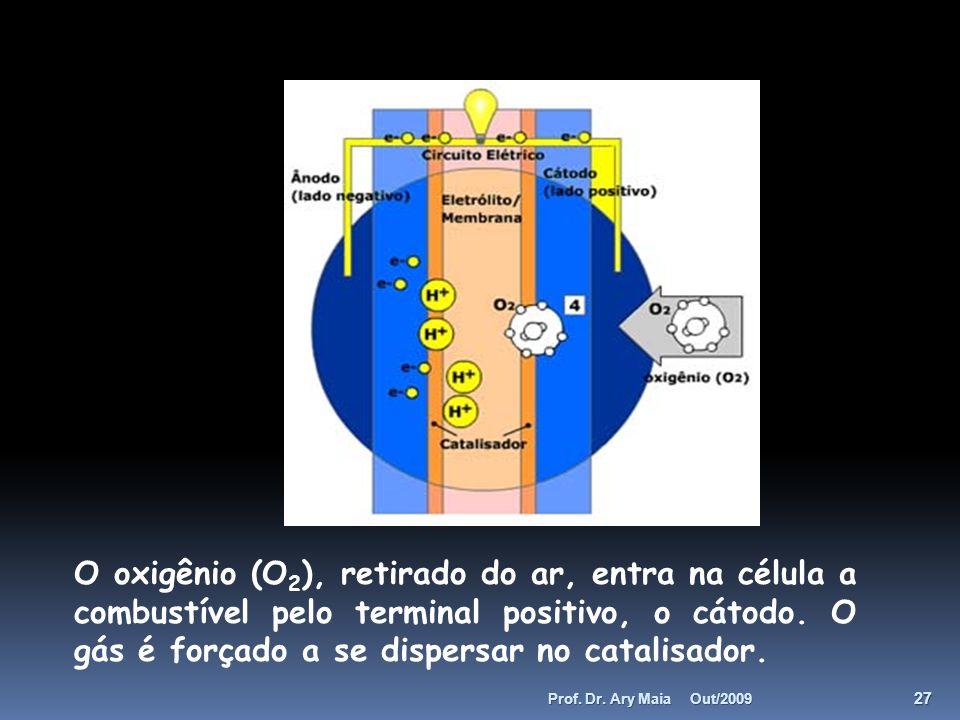 O oxigênio (O2), retirado do ar, entra na célula a combustível pelo terminal positivo, o cátodo. O gás é forçado a se dispersar no catalisador.