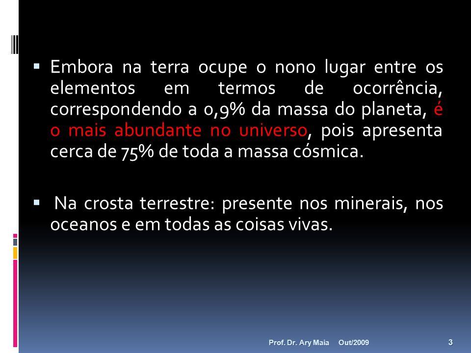 Embora na terra ocupe o nono lugar entre os elementos em termos de ocorrência, correspondendo a 0,9% da massa do planeta, é o mais abundante no universo, pois apresenta cerca de 75% de toda a massa cósmica.