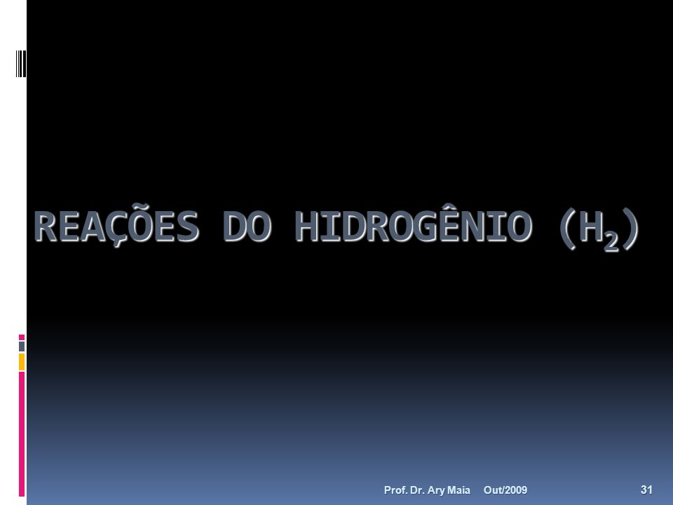REAÇÕES DO HIDROGÊNIO (H2)