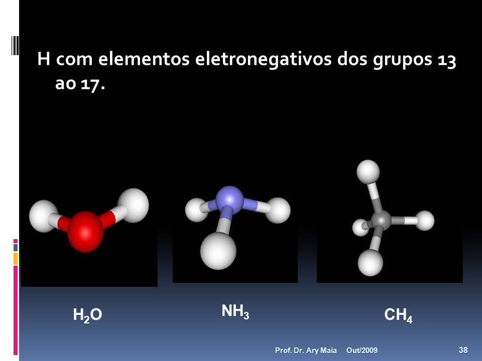 H com elementos eletronegativos dos grupos 13 ao 17.