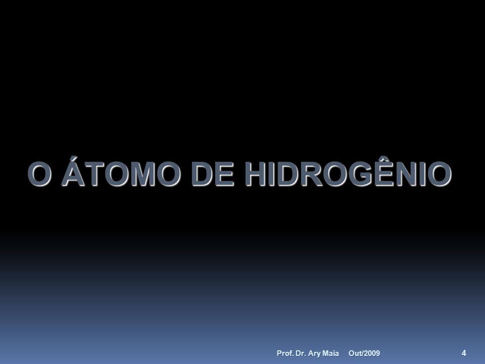 O ÁTOMO DE HIDROGÊNIO Prof. Dr. Ary Maia Out/2009
