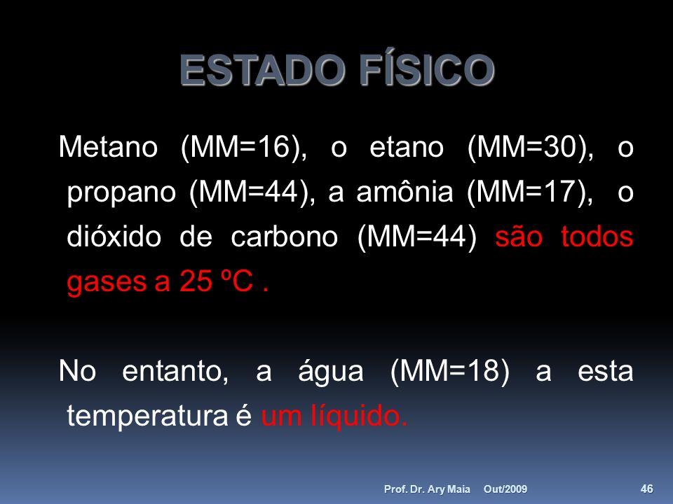 ESTADO FÍSICO Metano (MM=16), o etano (MM=30), o propano (MM=44), a amônia (MM=17), o dióxido de carbono (MM=44) são todos gases a 25 ºC .