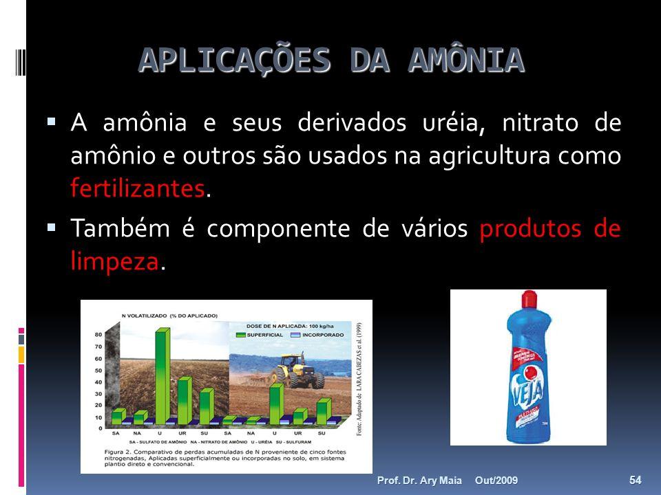 APLICAÇÕES DA AMÔNIA A amônia e seus derivados uréia, nitrato de amônio e outros são usados na agricultura como fertilizantes.