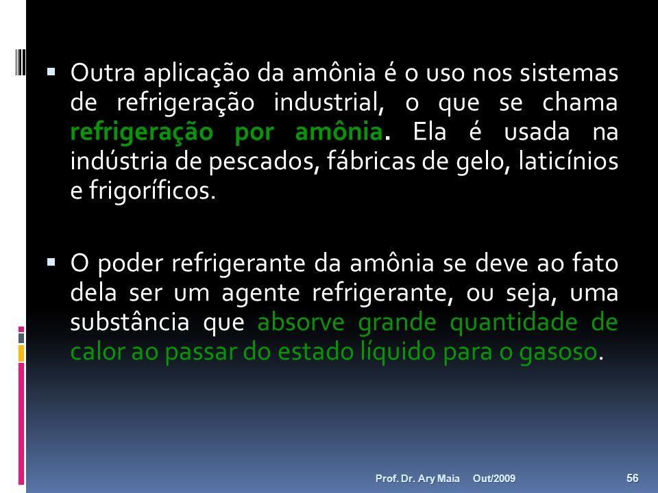 Outra aplicação da amônia é o uso nos sistemas de refrigeração industrial, o que se chama refrigeração por amônia. Ela é usada na indústria de pescados, fábricas de gelo, laticínios e frigoríficos.