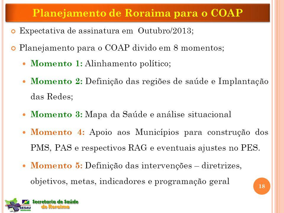 Planejamento de Roraima para o COAP