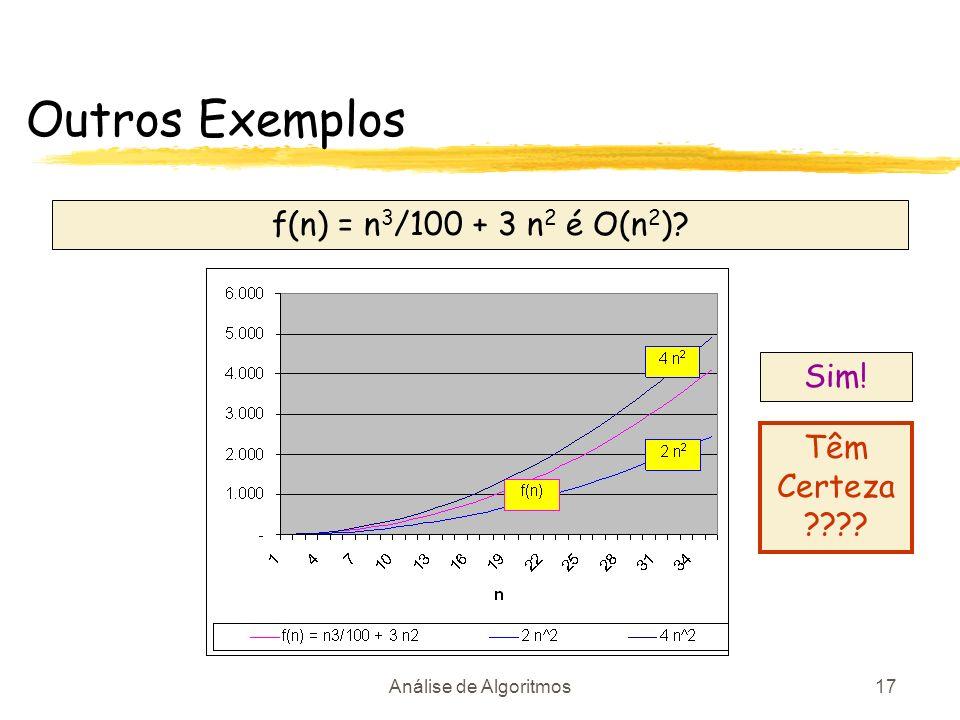 Outros Exemplos f(n) = n3/100 + 3 n2 é O(n2) Sim! Têm Certeza