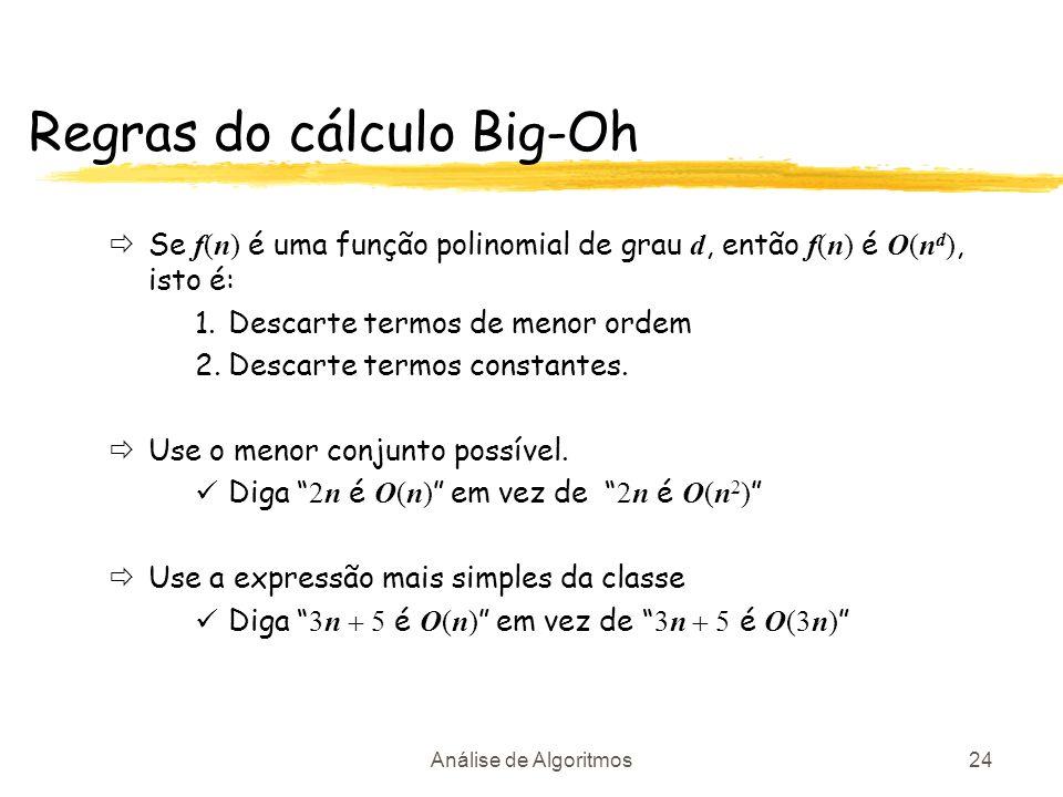 Regras do cálculo Big-Oh
