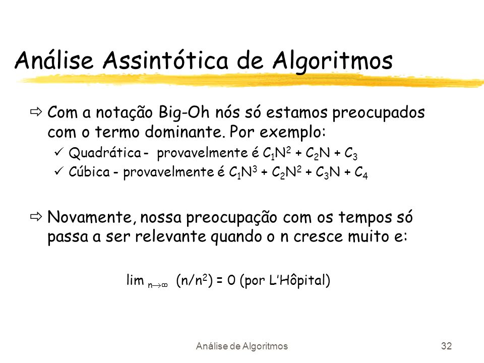 Análise Assintótica de Algoritmos