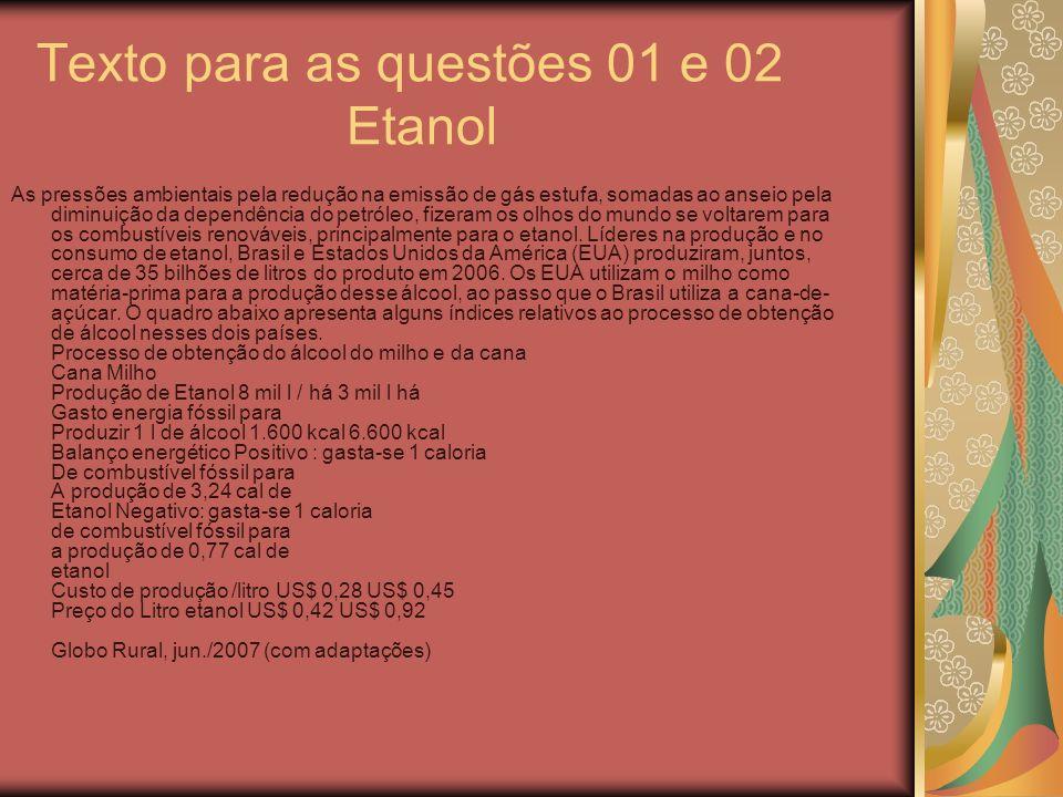 Texto para as questões 01 e 02 Etanol