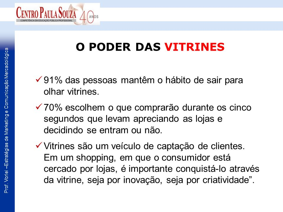 O PODER DAS VITRINES 91% das pessoas mantêm o hábito de sair para olhar vitrines.