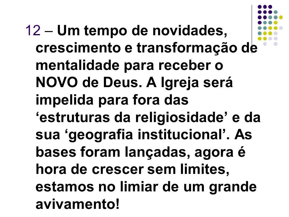 12 – Um tempo de novidades, crescimento e transformação de mentalidade para receber o NOVO de Deus.