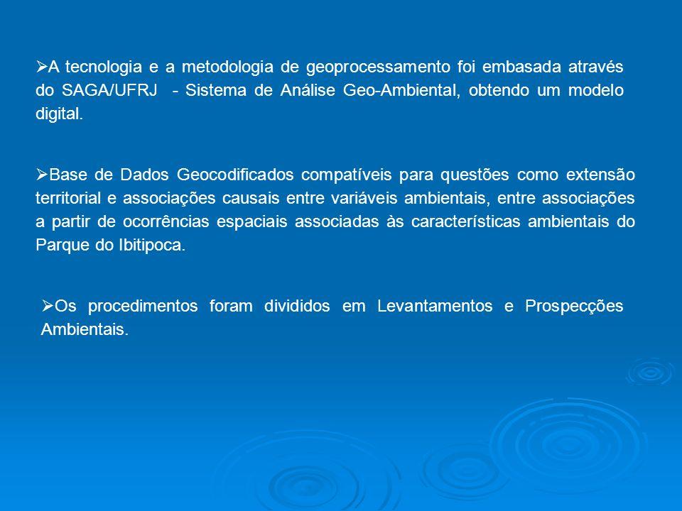 A tecnologia e a metodologia de geoprocessamento foi embasada através do SAGA/UFRJ - Sistema de Análise Geo-Ambiental, obtendo um modelo digital.