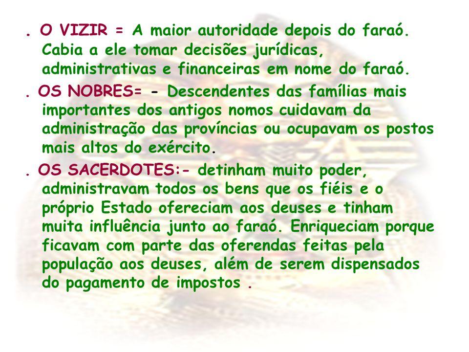 O VIZIR = A maior autoridade depois do faraó