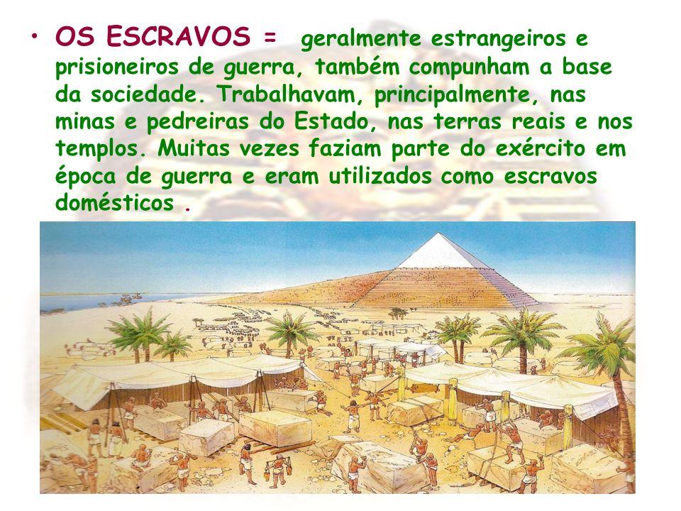 OS ESCRAVOS = geralmente estrangeiros e prisioneiros de guerra, também compunham a base da sociedade.