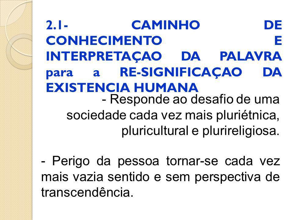 2.1- CAMINHO DE CONHECIMENTO E INTERPRETAÇAO DA PALAVRA para a RE-SIGNIFICAÇAO DA EXISTENCIA HUMANA