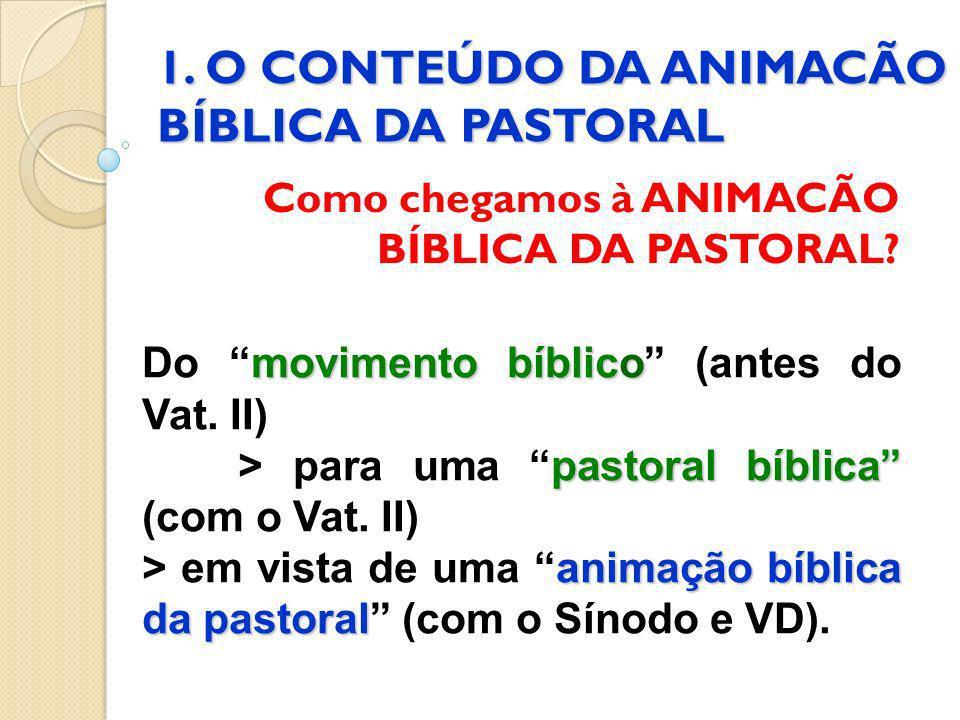 1. O CONTEÚDO DA ANIMACÃO BÍBLICA DA PASTORAL