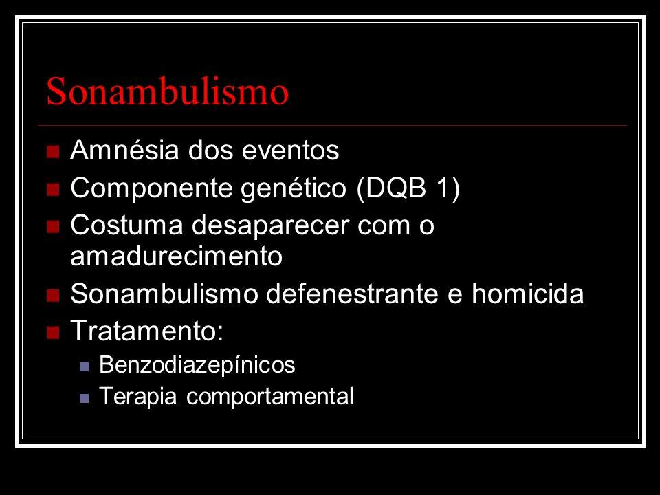 Sonambulismo Amnésia dos eventos Componente genético (DQB 1)