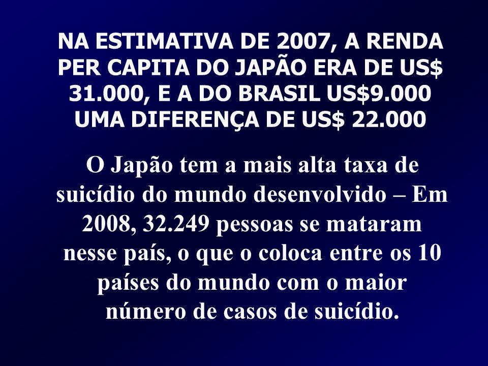NA ESTIMATIVA DE 2007, A RENDA PER CAPITA DO JAPÃO ERA DE US$ 31