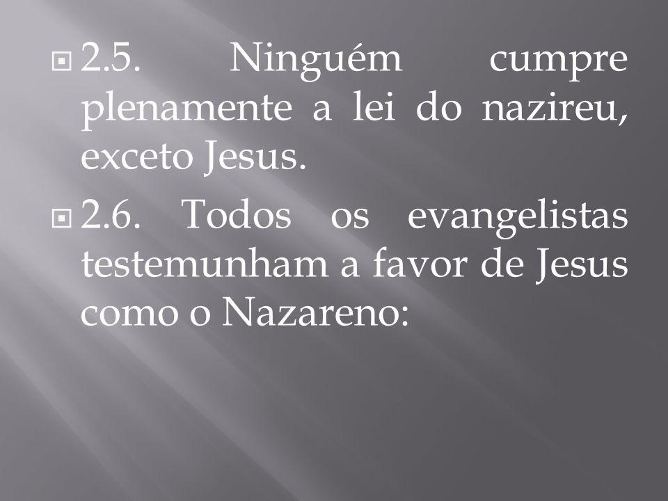 2.5. Ninguém cumpre plenamente a lei do nazireu, exceto Jesus.