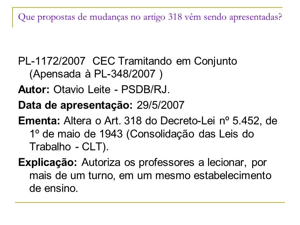 Que propostas de mudanças no artigo 318 vêm sendo apresentadas