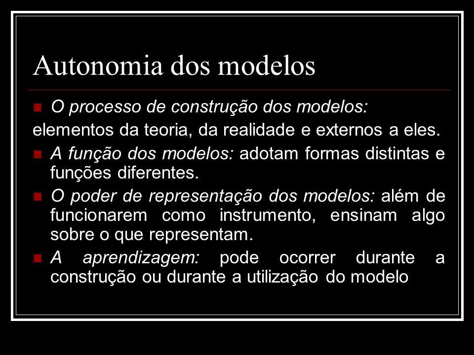 Autonomia dos modelos O processo de construção dos modelos:
