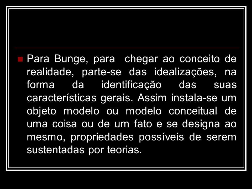 Para Bunge, para chegar ao conceito de realidade, parte-se das idealizações, na forma da identificação das suas características gerais.
