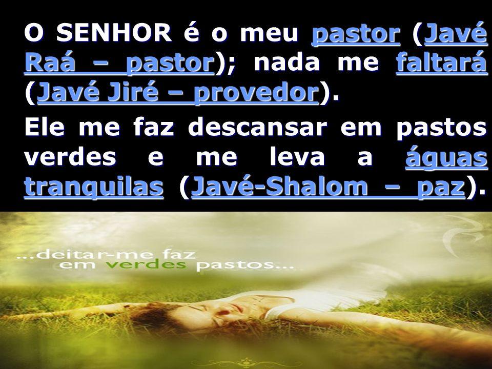 O SENHOR é o meu pastor (Javé Raá – pastor); nada me faltará (Javé Jiré – provedor).