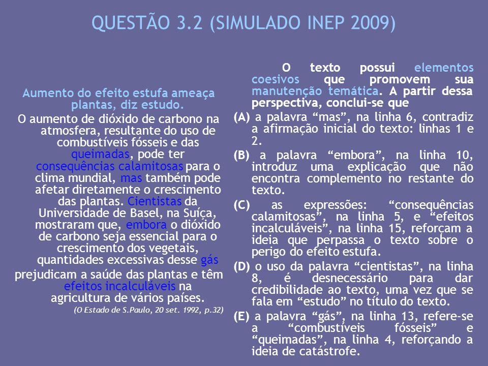 QUESTÃO 3.2 (SIMULADO INEP 2009)