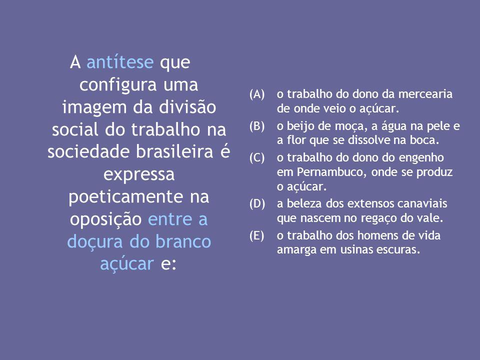 A antítese que configura uma imagem da divisão social do trabalho na sociedade brasileira é expressa poeticamente na oposição entre a doçura do branco açúcar e: