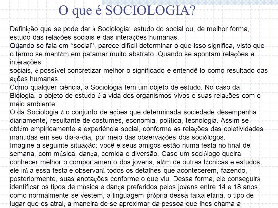 O que é SOCIOLOGIA O que é Sociologia O que é Sociologia