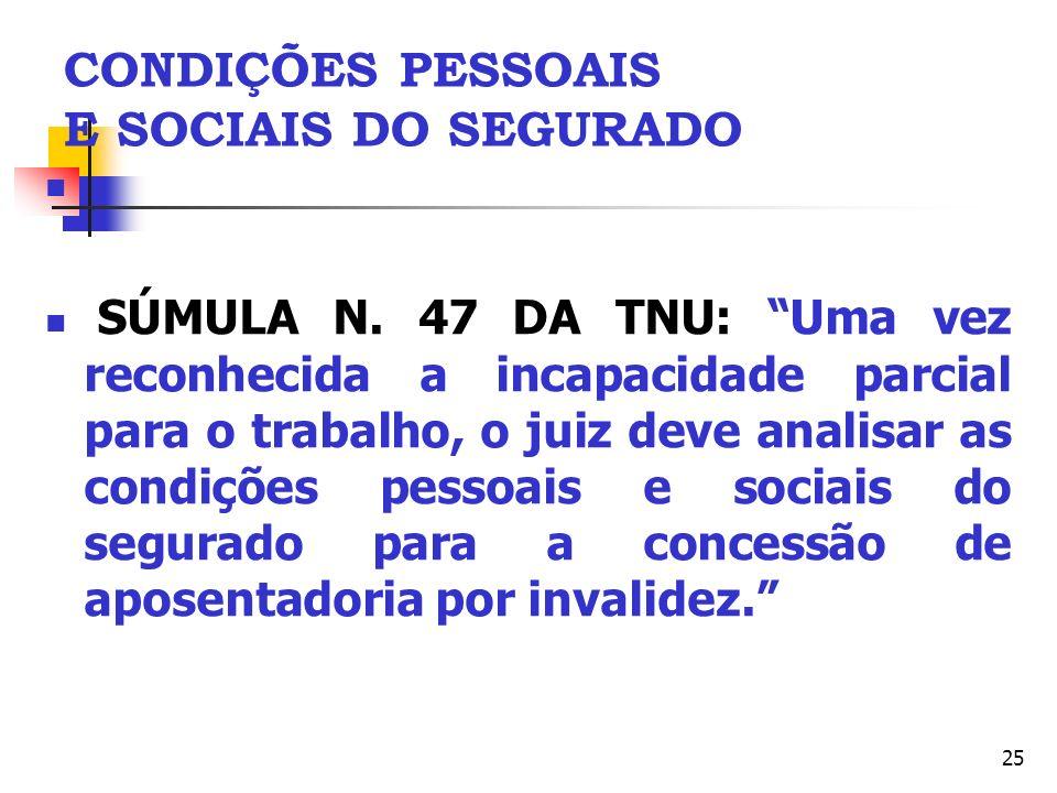 CONDIÇÕES PESSOAIS E SOCIAIS DO SEGURADO