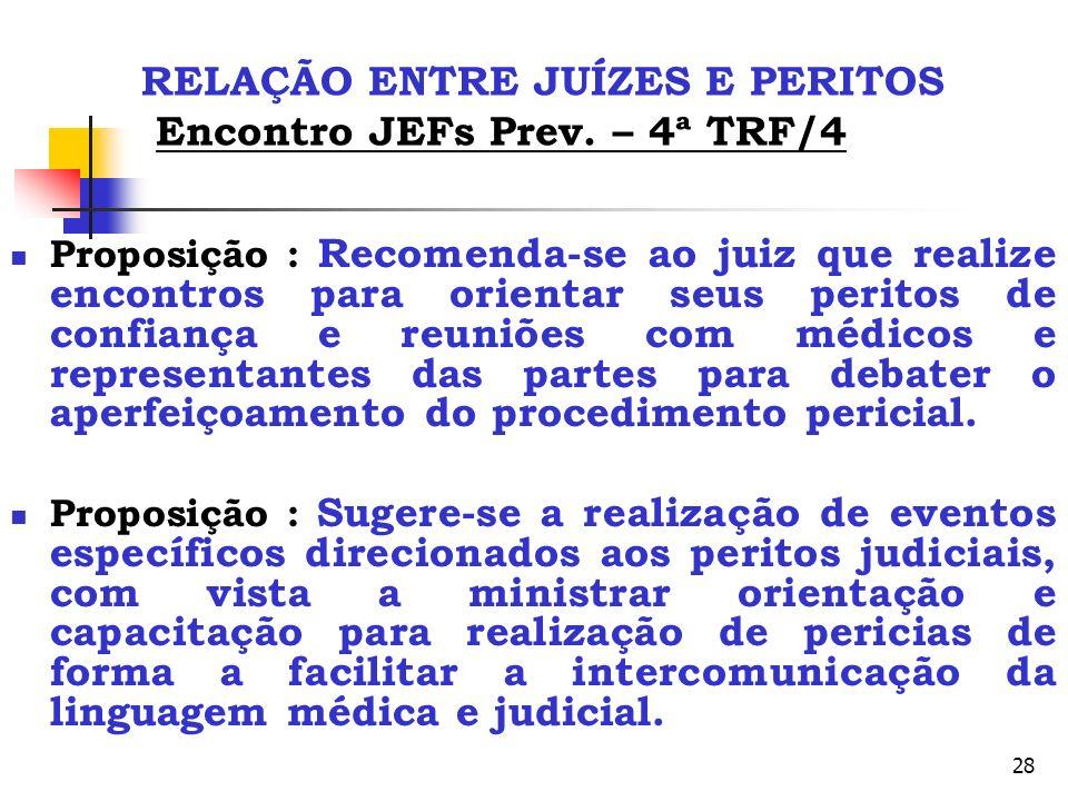 RELAÇÃO ENTRE JUÍZES E PERITOS Encontro JEFs Prev. – 4ª TRF/4