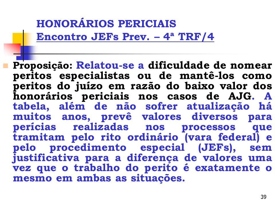 HONORÁRIOS PERICIAIS Encontro JEFs Prev. – 4ª TRF/4