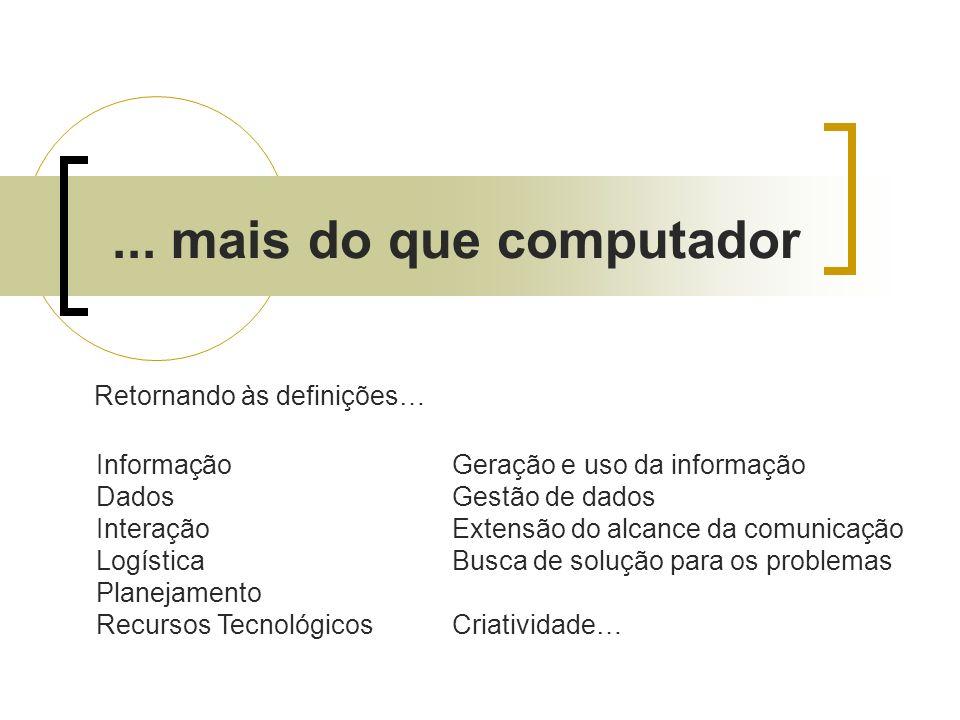 ... mais do que computador Retornando às definições… Informação Dados