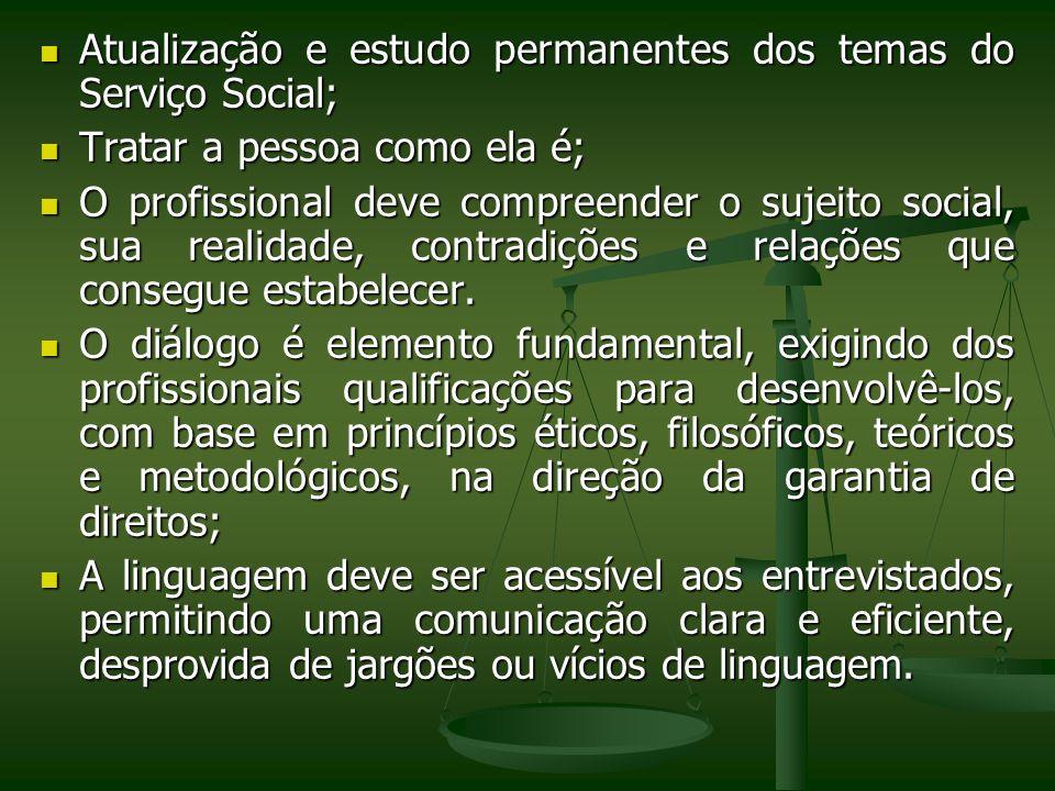 Atualização e estudo permanentes dos temas do Serviço Social;