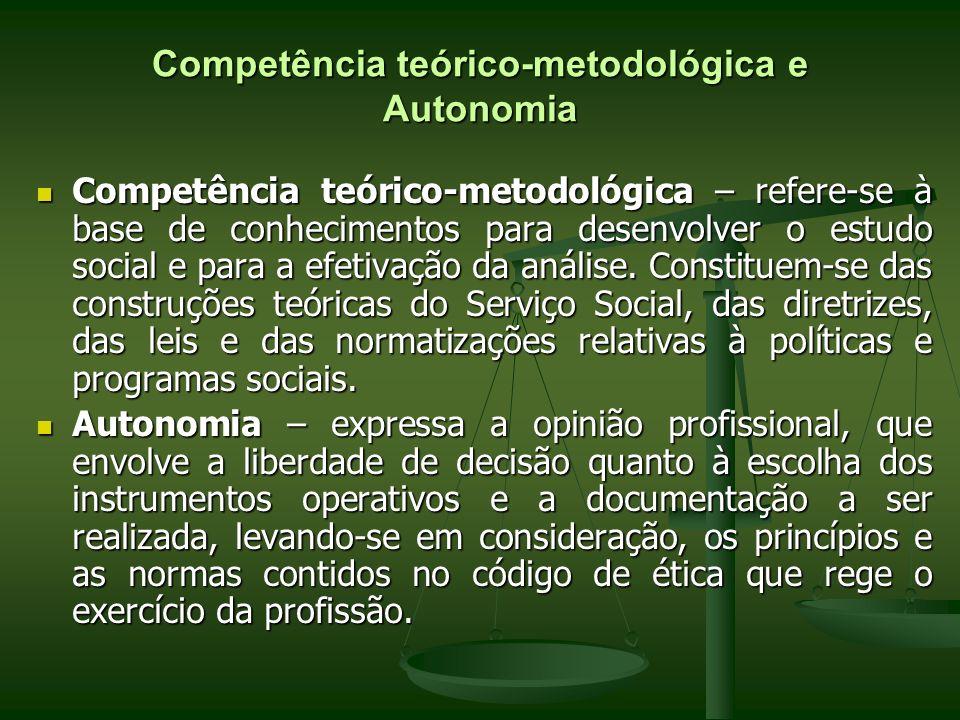 Competência teórico-metodológica e Autonomia