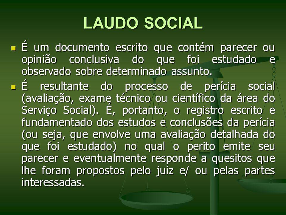 LAUDO SOCIAL É um documento escrito que contém parecer ou opinião conclusiva do que foi estudado e observado sobre determinado assunto.