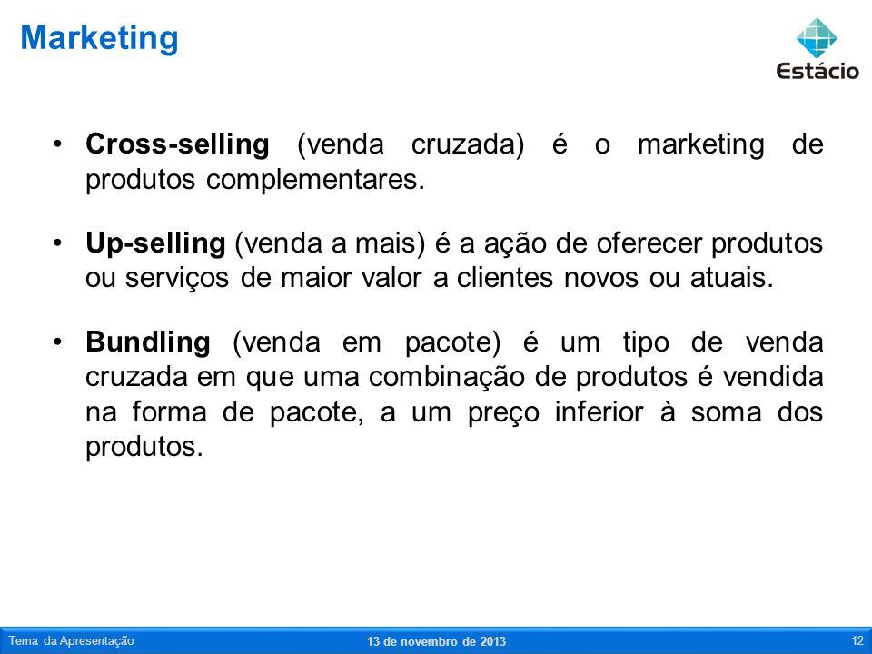 Marketing Cross-selling (venda cruzada) é o marketing de produtos complementares.